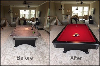 Pool table recovering with new pool table felt in Akron